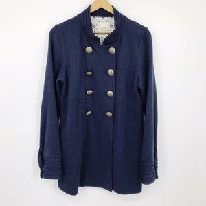 Fossil Double Breasted Wool Blend Knit Jacket Blue